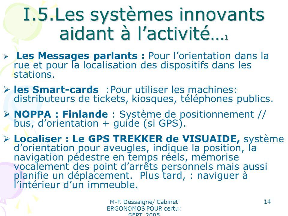 M-F. Dessaigne/ Cabinet ERGONOMOS POUR certu: SEPT. 2005 14 I.5.Les systèmes innovants aidant à lactivité… 1 Les Messages parlants : Pour lorientation