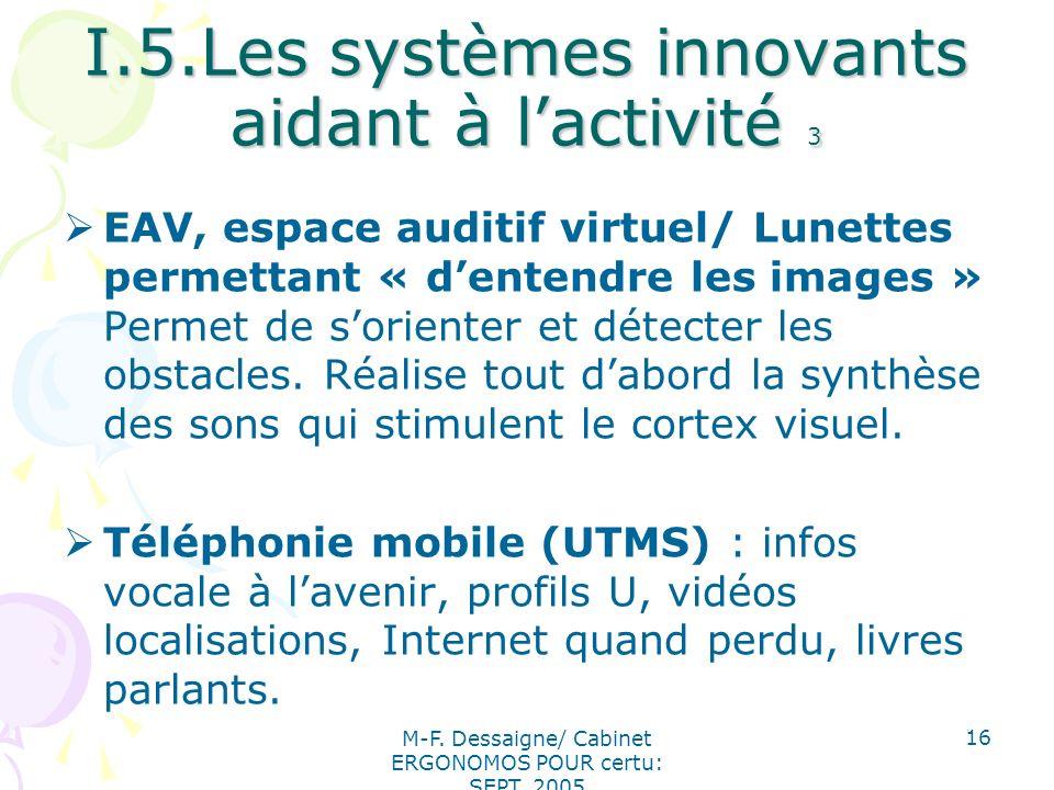 M-F. Dessaigne/ Cabinet ERGONOMOS POUR certu: SEPT. 2005 16 I.5.Les systèmes innovants aidant à lactivité 3 EAV, espace auditif virtuel/ Lunettes perm