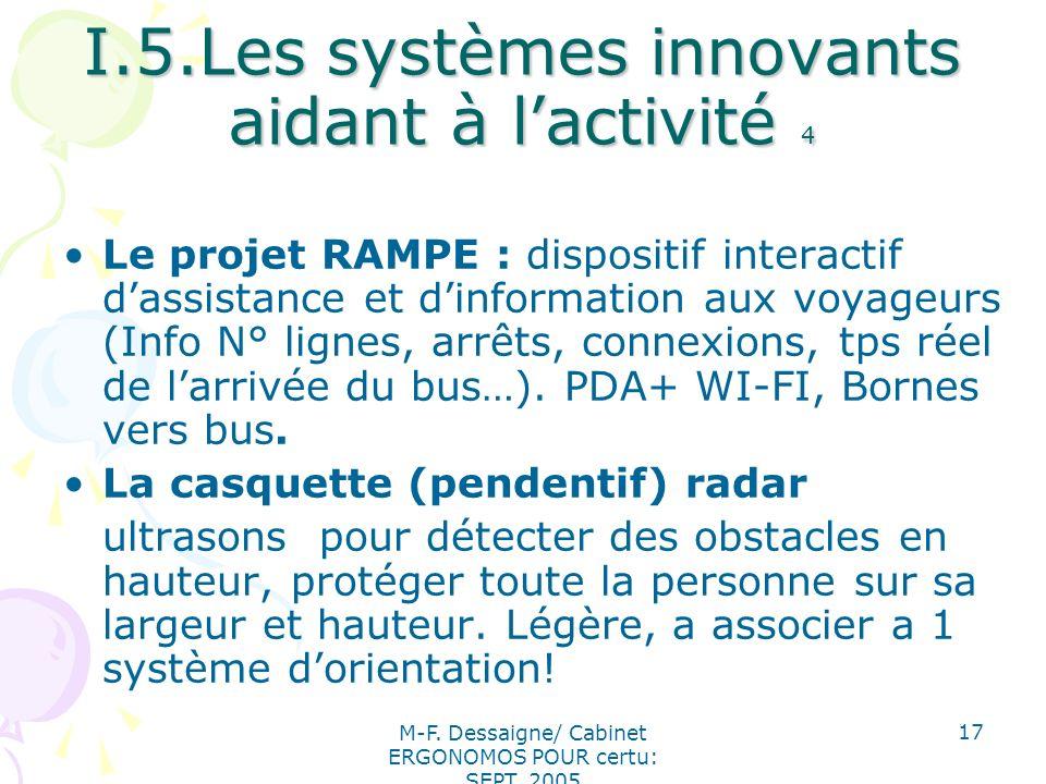 M-F. Dessaigne/ Cabinet ERGONOMOS POUR certu: SEPT. 2005 17 I.5.Les systèmes innovants aidant à lactivité 4 Le projet RAMPE : dispositif interactif da