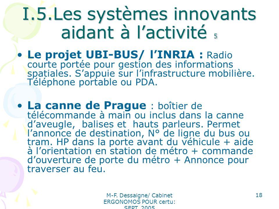M-F. Dessaigne/ Cabinet ERGONOMOS POUR certu: SEPT. 2005 18 I.5.Les systèmes innovants aidant à lactivité 5 Le projet UBI-BUS/ lINRIA : Radio courte p