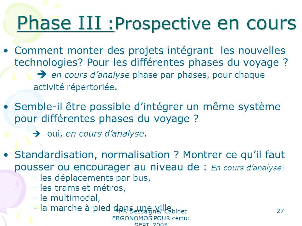 M-F. Dessaigne/ Cabinet ERGONOMOS POUR certu: SEPT. 2005 27 Phase III :Prospective en cours Phase III :Prospective en cours Comment monter des projets