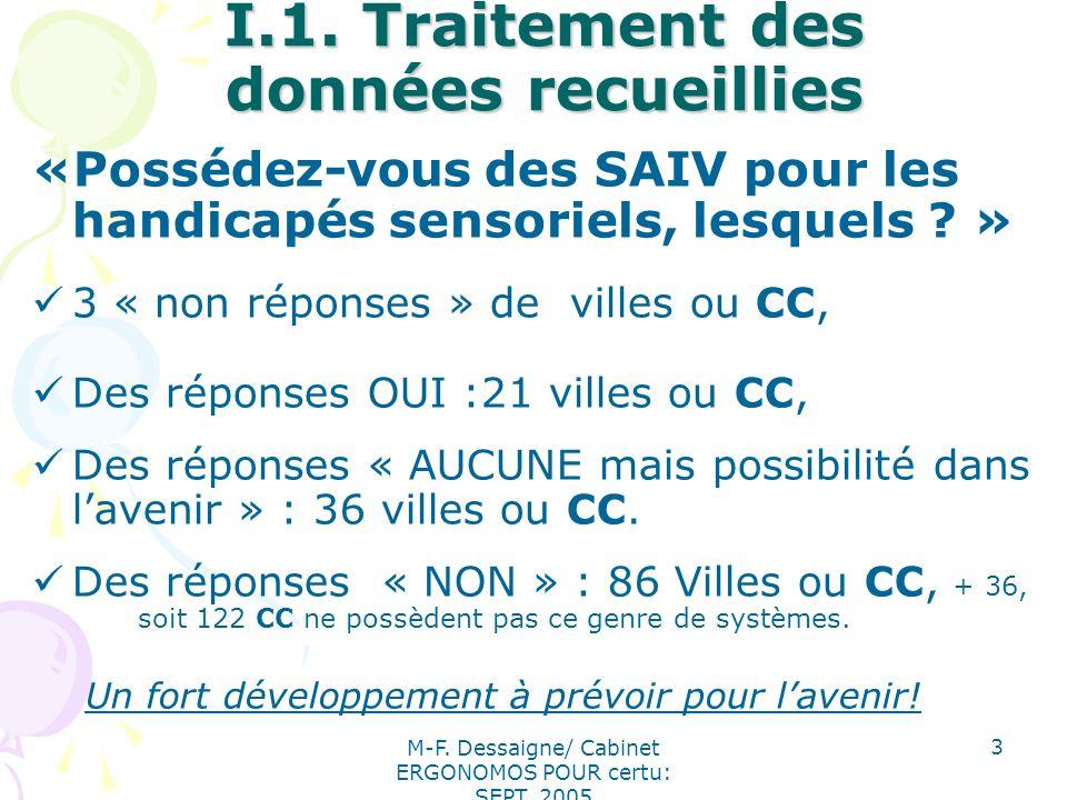 M-F. Dessaigne/ Cabinet ERGONOMOS POUR certu: SEPT. 2005 3 I.1. Traitement des données recueillies «Possédez-vous des SAIV pour les handicapés sensori
