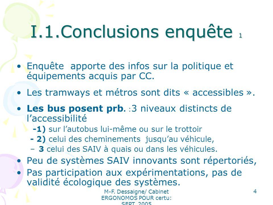 M-F. Dessaigne/ Cabinet ERGONOMOS POUR certu: SEPT. 2005 4 I.1.Conclusions enquête 1 Enquête apporte des infos sur la politique et équipements acquis