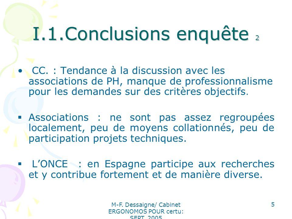 M-F. Dessaigne/ Cabinet ERGONOMOS POUR certu: SEPT. 2005 5 I.1.Conclusions enquête 2 CC. : Tendance à la discussion avec les associations de PH, manqu