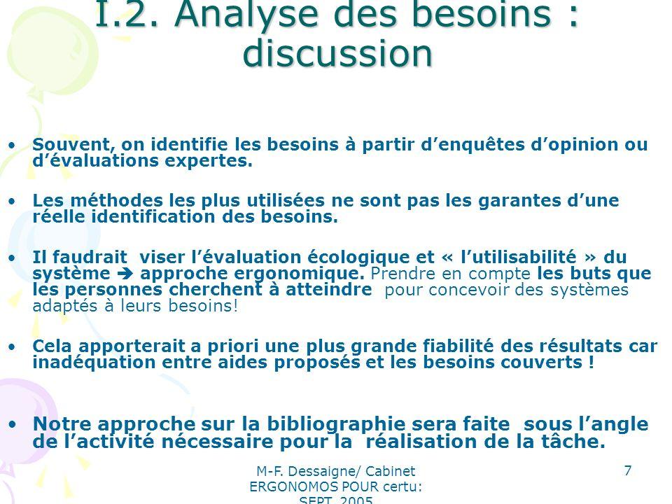 M-F. Dessaigne/ Cabinet ERGONOMOS POUR certu: SEPT. 2005 7 I.2. Analyse des besoins : discussion Souvent, on identifie les besoins à partir denquêtes