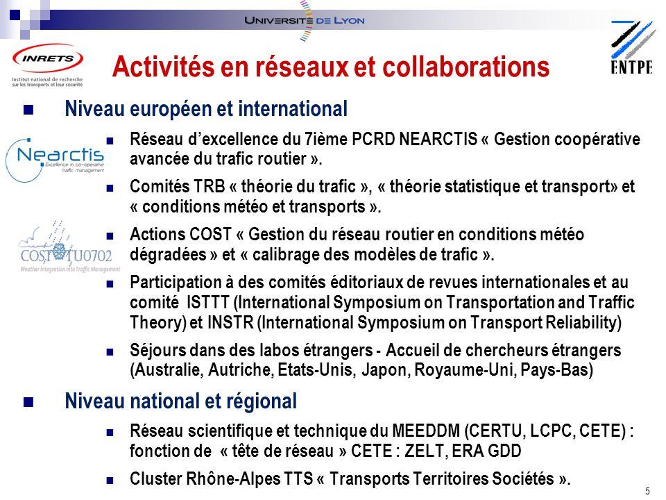 Niveau européen et international Réseau dexcellence du 7ième PCRD NEARCTIS « Gestion coopérative avancée du trafic routier ».