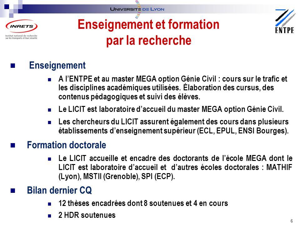 Enseignement A lENTPE et au master MEGA option Génie Civil : cours sur le trafic et les disciplines académiques utilisées.
