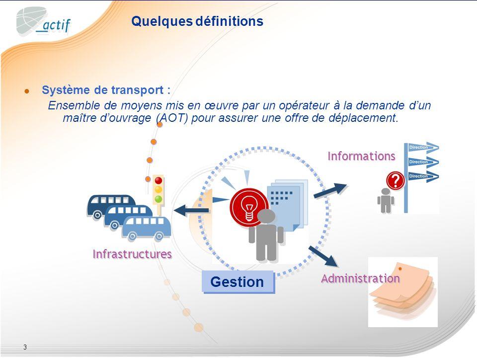 3 Système de transport : Ensemble de moyens mis en œuvre par un opérateur à la demande dun maître douvrage (AOT) pour assurer une offre de déplacement