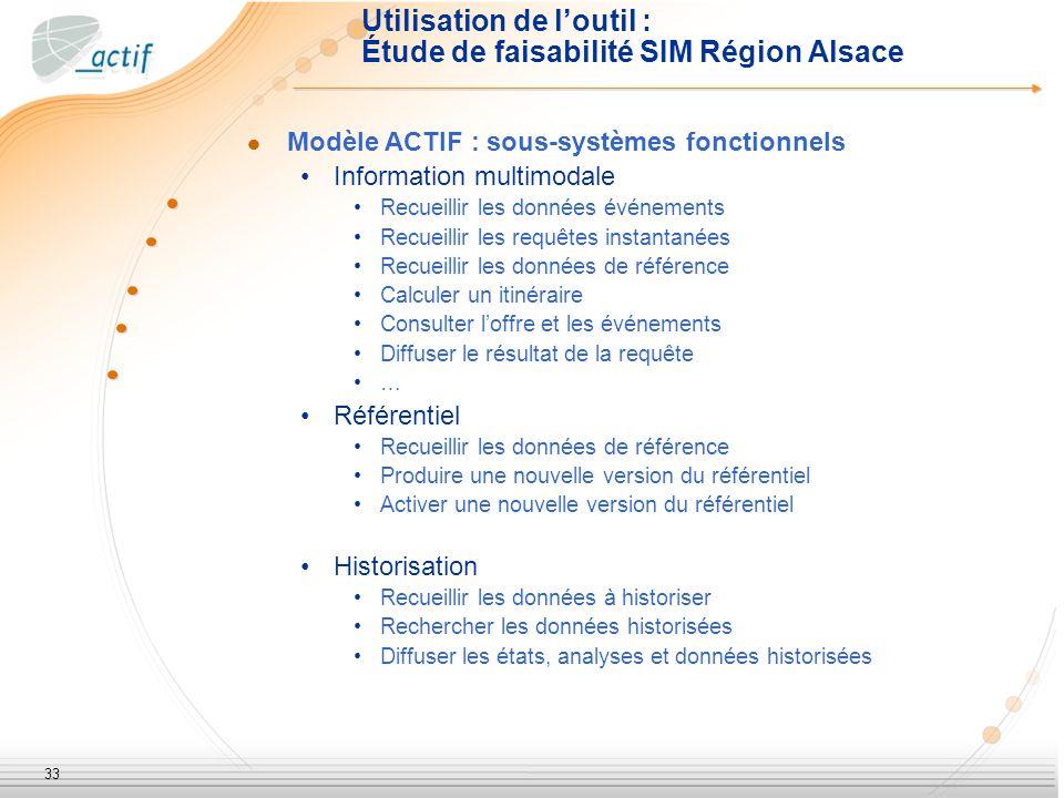 33 Utilisation de loutil : Étude de faisabilité SIM Région Alsace Modèle ACTIF : sous-systèmes fonctionnels Information multimodale Recueillir les don