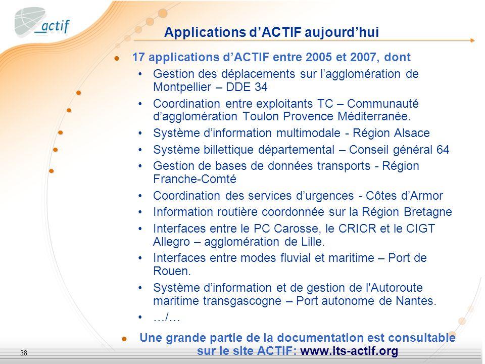 38 Applications dACTIF aujourdhui 17 applications dACTIF entre 2005 et 2007, dont Gestion des déplacements sur lagglomération de Montpellier – DDE 34 Coordination entre exploitants TC – Communauté dagglomération Toulon Provence Méditerranée.
