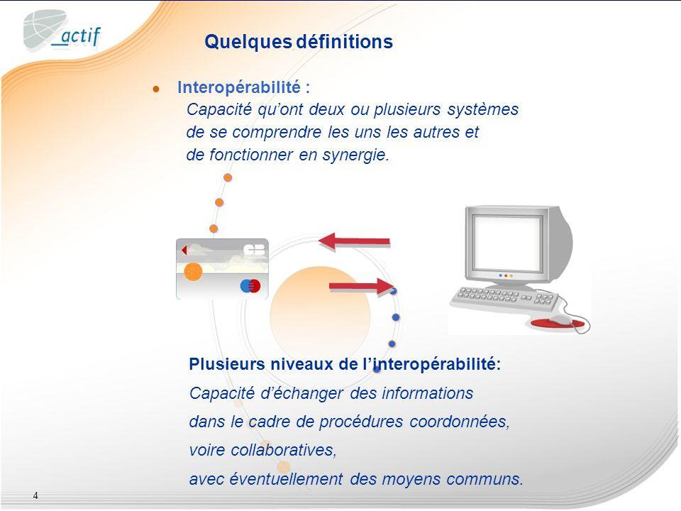 4 Quelques définitions Interopérabilité : Capacité quont deux ou plusieurs systèmes de se comprendre les uns les autres et de fonctionner en synergie.