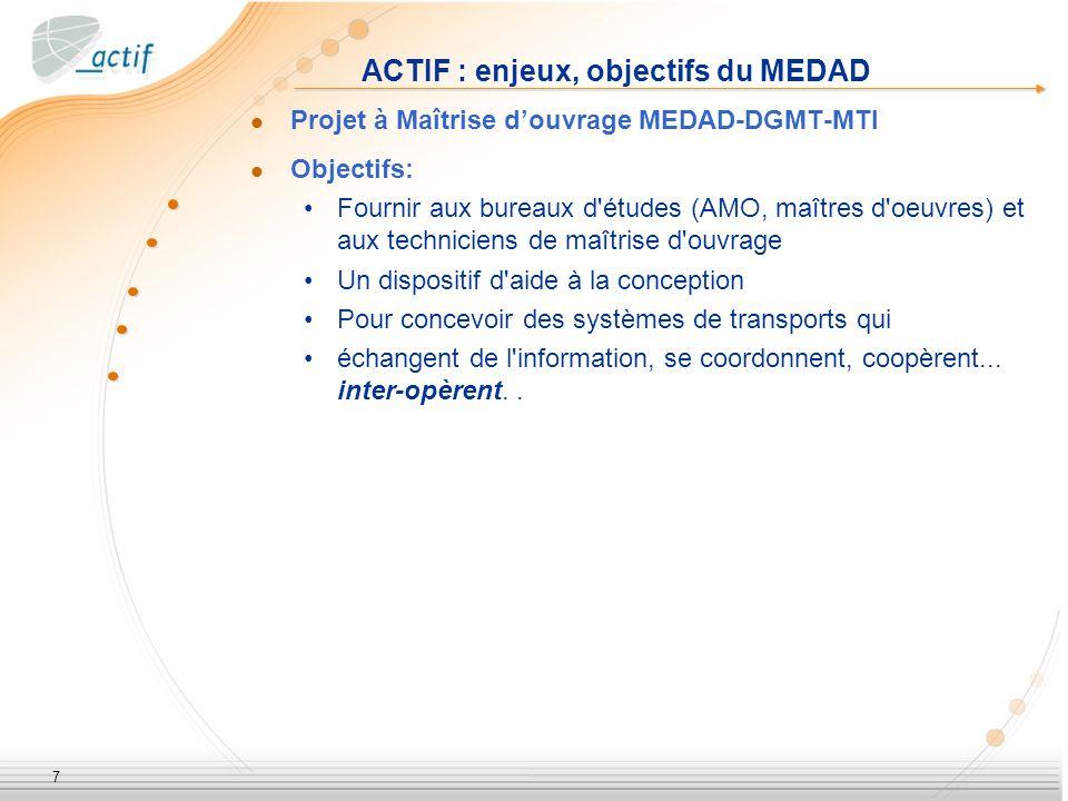 7 ACTIF : enjeux, objectifs du MEDAD Projet à Maîtrise douvrage MEDAD-DGMT-MTI Objectifs: Fournir aux bureaux d études (AMO, maîtres d oeuvres) et aux techniciens de maîtrise d ouvrage Un dispositif d aide à la conception Pour concevoir des systèmes de transports qui échangent de l information, se coordonnent, coopèrent...