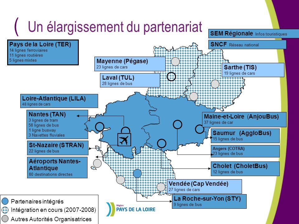 ( Saumur (AggloBus) 15 lignes de bus Angers (COTRA) 23 lignes de bus Cholet (CholetBus) 12 lignes de bus Nantes (TAN) 3 lignes de tram 58 lignes de bu