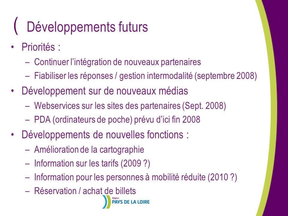 ( Priorités : –Continuer lintégration de nouveaux partenaires –Fiabiliser les réponses / gestion intermodalité (septembre 2008) Développement sur de n