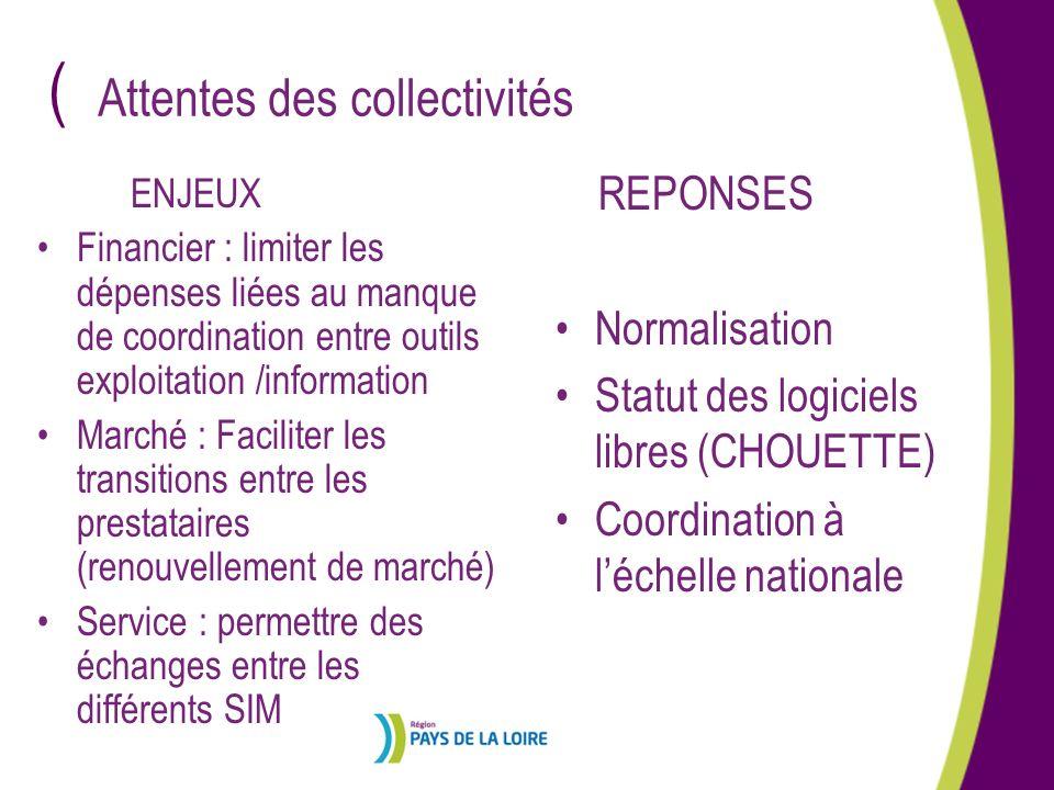 ( ENJEUX Financier : limiter les dépenses liées au manque de coordination entre outils exploitation /information Marché : Faciliter les transitions en