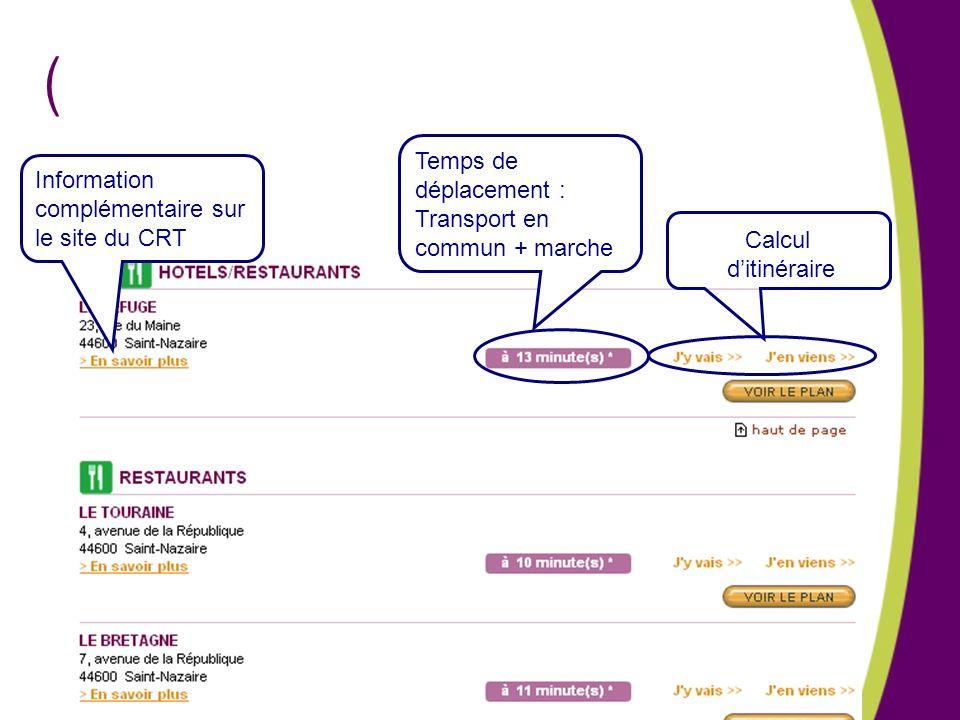 ( Calcul ditinéraire Temps de déplacement : Transport en commun + marche Information complémentaire sur le site du CRT
