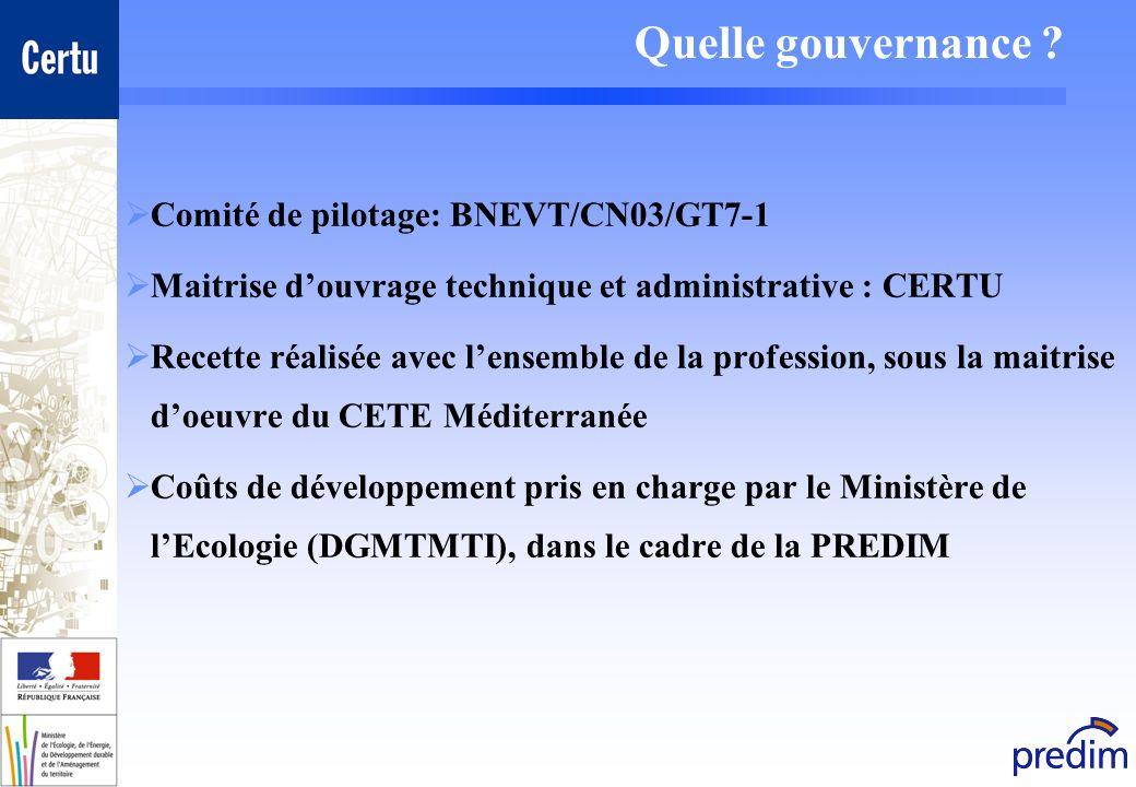 Quelle gouvernance ? Comité de pilotage: BNEVT/CN03/GT7-1 Maitrise douvrage technique et administrative : CERTU Recette réalisée avec lensemble de la