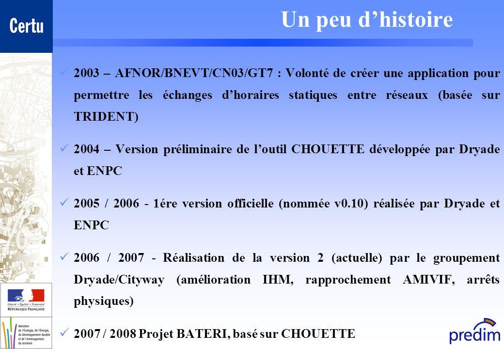 Un peu dhistoire 2003 – AFNOR/BNEVT/CN03/GT7 : Volonté de créer une application pour permettre les échanges dhoraires statiques entre réseaux (basée s