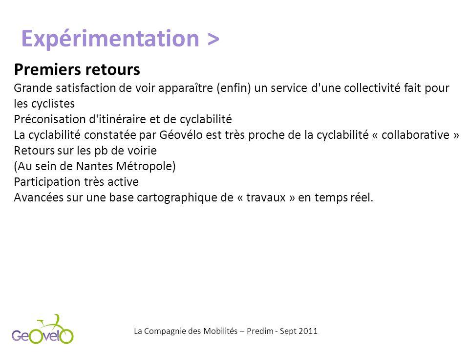 Premiers retours Grande satisfaction de voir apparaître (enfin) un service d'une collectivité fait pour les cyclistes Préconisation d'itinéraire et de
