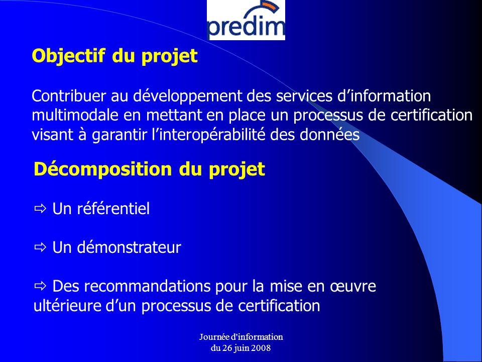 Journée d information du 26 juin 2008 Objectif du projet Contribuer au développement des services dinformation multimodale en mettant en place un processus de certification visant à garantir linteropérabilité des données Décomposition du projet Un référentiel Un démonstrateur Des recommandations pour la mise en œuvre ultérieure dun processus de certification