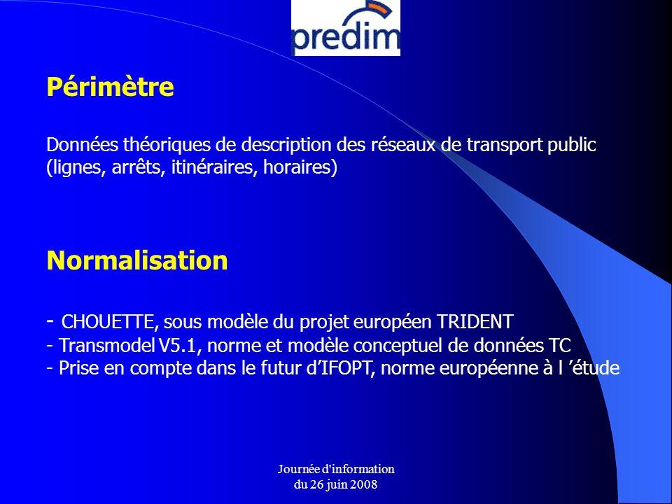 Journée d information du 26 juin 2008 Normalisation - CHOUETTE, sous modèle du projet européen TRIDENT - Transmodel V5.1, norme et modèle conceptuel de données TC - Prise en compte dans le futur dIFOPT, norme européenne à l étude Périmètre Données théoriques de description des réseaux de transport public (lignes, arrêts, itinéraires, horaires)