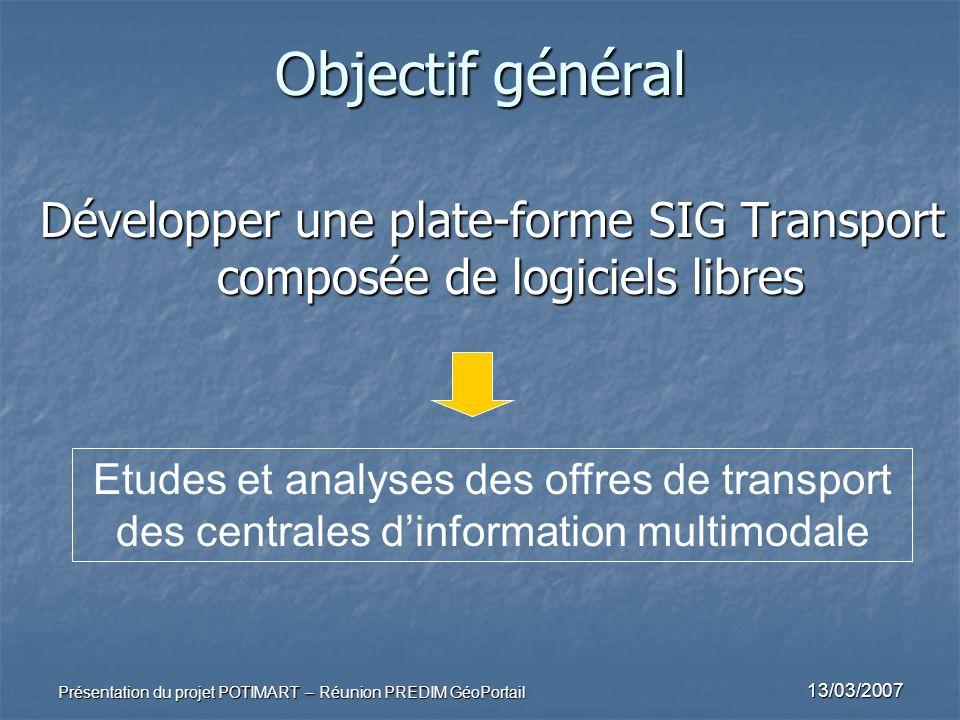 13/03/2007 Présentation du projet POTIMART – Réunion PREDIM GéoPortail Objectif général Développer une plate-forme SIG Transport composée de logiciels