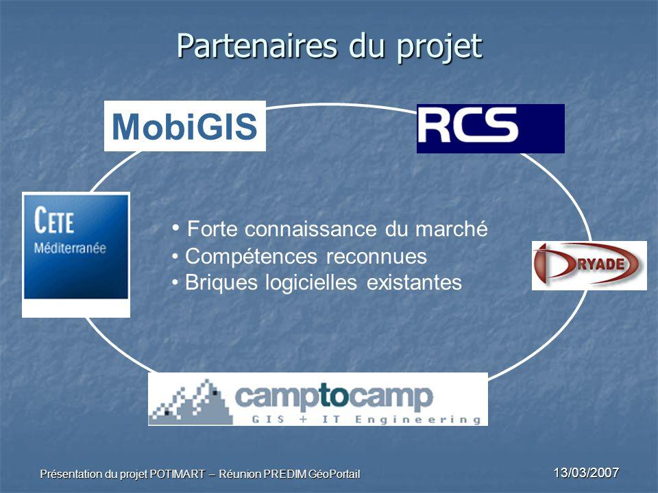 13/03/2007 Présentation du projet POTIMART – Réunion PREDIM GéoPortail Partenaires du projet Forte connaissance du marché Compétences reconnues Brique
