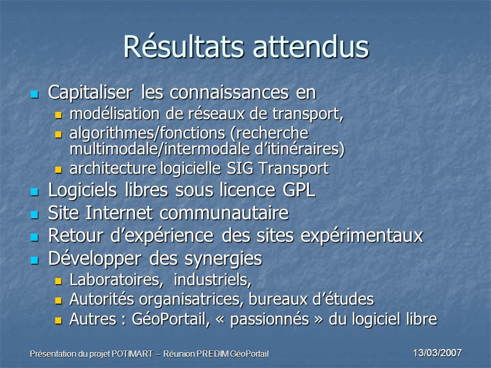 13/03/2007 Présentation du projet POTIMART – Réunion PREDIM GéoPortail Résultats attendus Capitaliser les connaissances en Capitaliser les connaissanc