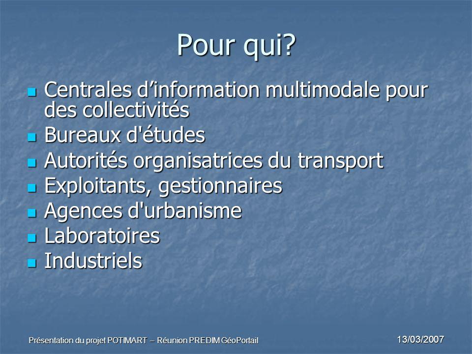 13/03/2007 Présentation du projet POTIMART – Réunion PREDIM GéoPortail Pour qui? Centrales dinformation multimodale pour des collectivités Centrales d