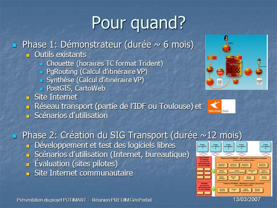 13/03/2007 Présentation du projet POTIMART – Réunion PREDIM GéoPortail Pour quand? Phase 1: Démonstrateur (durée ~ 6 mois) Phase 1: Démonstrateur (dur