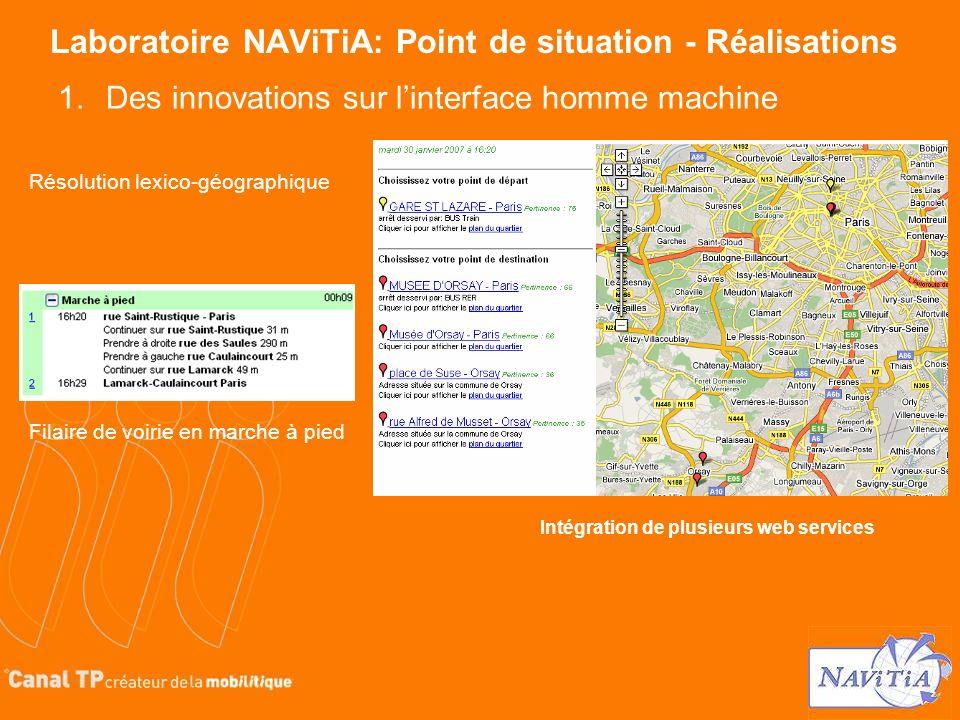Laboratoire NAViTiA: Point de situation - Réalisations Résolution lexico-géographique 1.Des innovations sur linterface homme machine Intégration de pl
