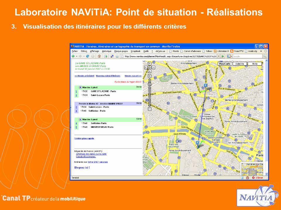 Laboratoire NAViTiA: Point de situation - Réalisations 3.Visualisation des itinéraires pour les différents critères