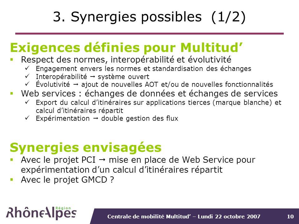 Centrale de mobilité Multitud – Lundi 22 octobre 200710 3. Synergies possibles (1/2) Exigences définies pour Multitud Respect des normes, interopérabi