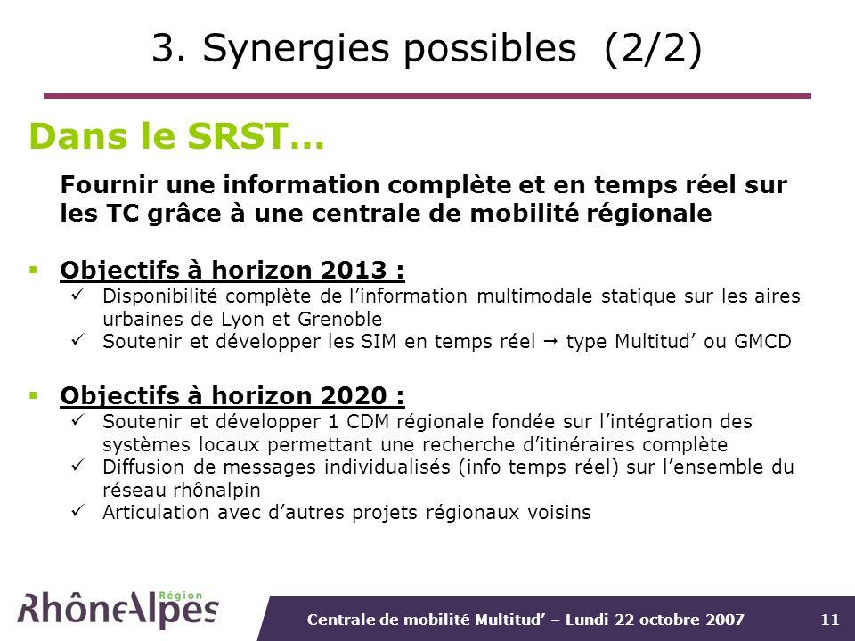 Centrale de mobilité Multitud – Lundi 22 octobre 200711 3. Synergies possibles (2/2) Dans le SRST… Fournir une information complète et en temps réel s