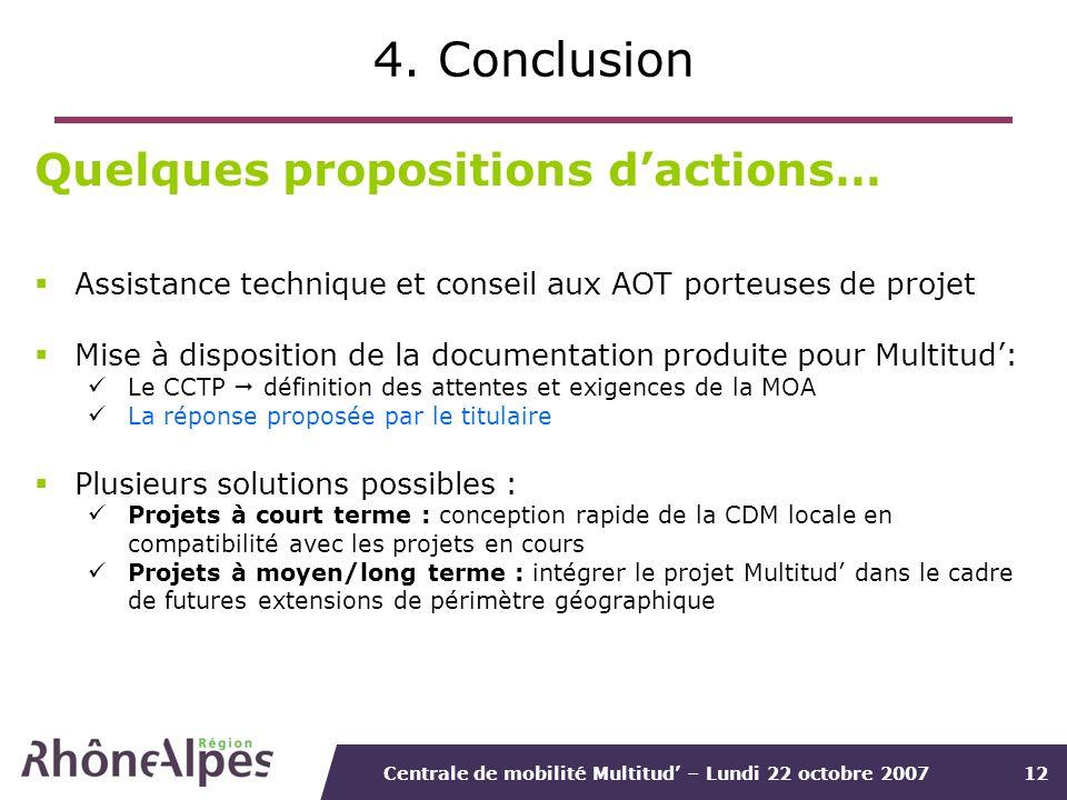 Centrale de mobilité Multitud – Lundi 22 octobre 200712 4. Conclusion Quelques propositions dactions… Assistance technique et conseil aux AOT porteuse