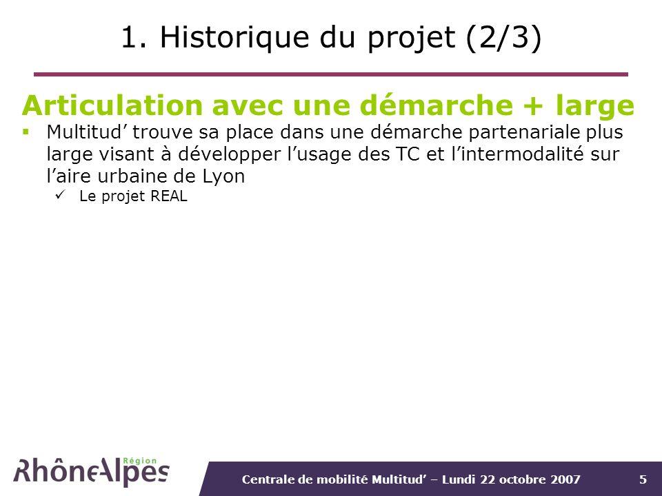 Centrale de mobilité Multitud – Lundi 22 octobre 20075 1. Historique du projet (2/3) Articulation avec une démarche + large Multitud trouve sa place d