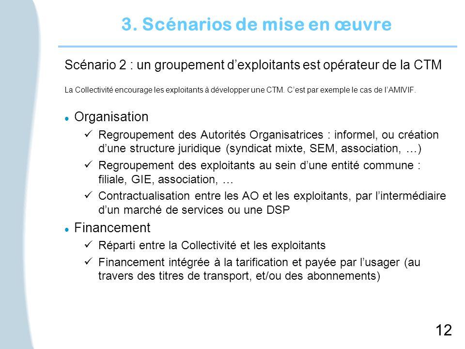 12 3. Scénarios de mise en œuvre Scénario 2 : un groupement dexploitants est opérateur de la CTM La Collectivité encourage les exploitants à développe