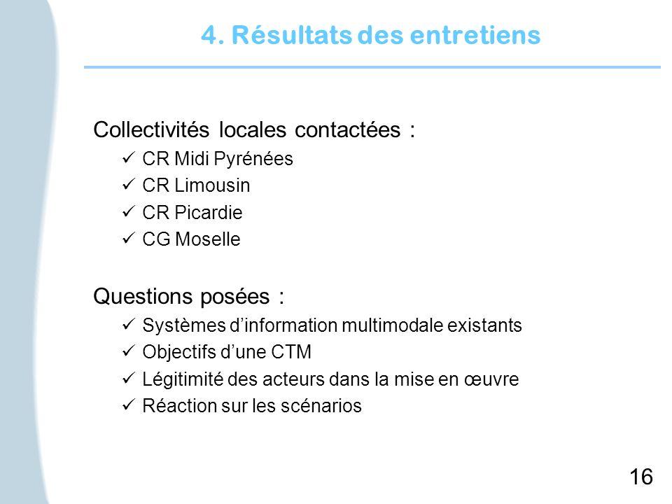 16 4. Résultats des entretiens Collectivités locales contactées : CR Midi Pyrénées CR Limousin CR Picardie CG Moselle Questions posées : Systèmes dinf