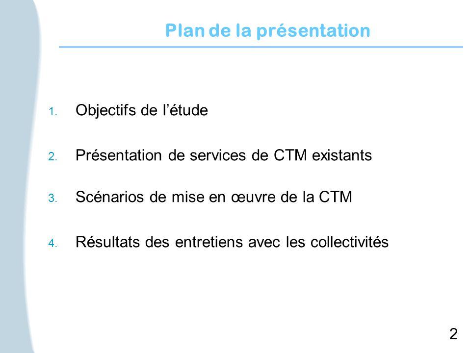 2 Plan de la présentation 1. Objectifs de létude 2. Présentation de services de CTM existants 3. Scénarios de mise en œuvre de la CTM 4. Résultats des