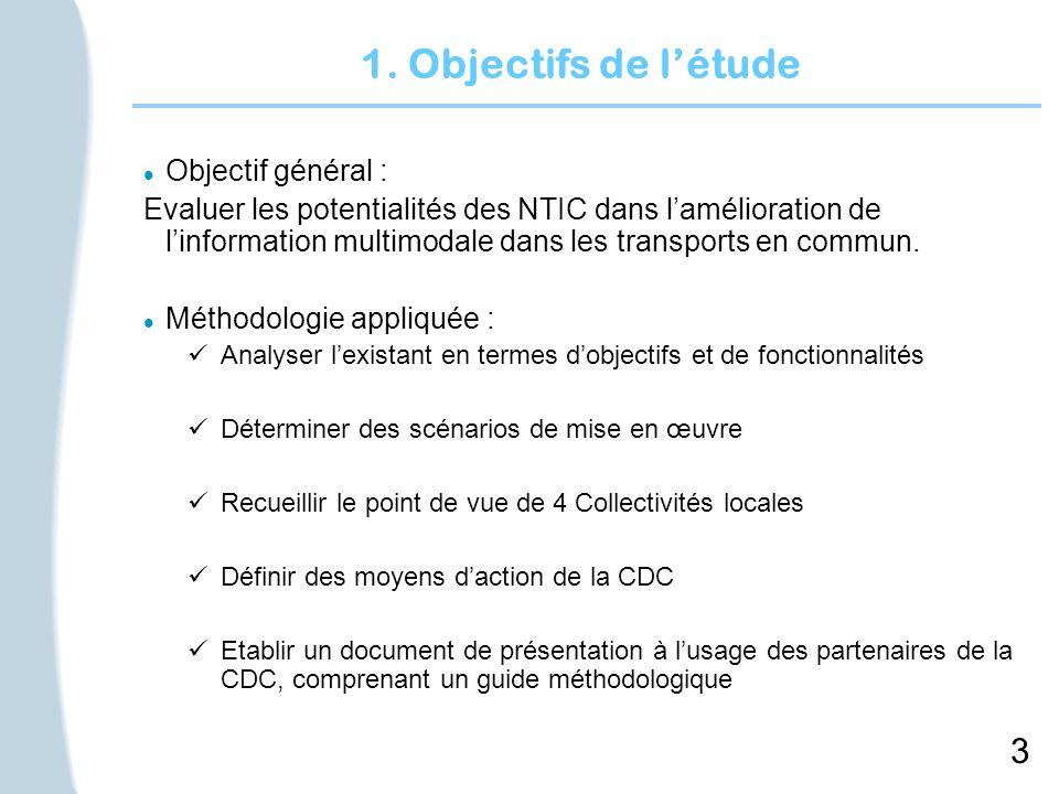 3 1. Objectifs de létude l Objectif général : Evaluer les potentialités des NTIC dans lamélioration de linformation multimodale dans les transports en