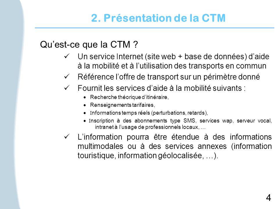 4 2. Présentation de la CTM Quest-ce que la CTM ? Un service Internet (site web + base de données) daide à la mobilité et à lutilisation des transport
