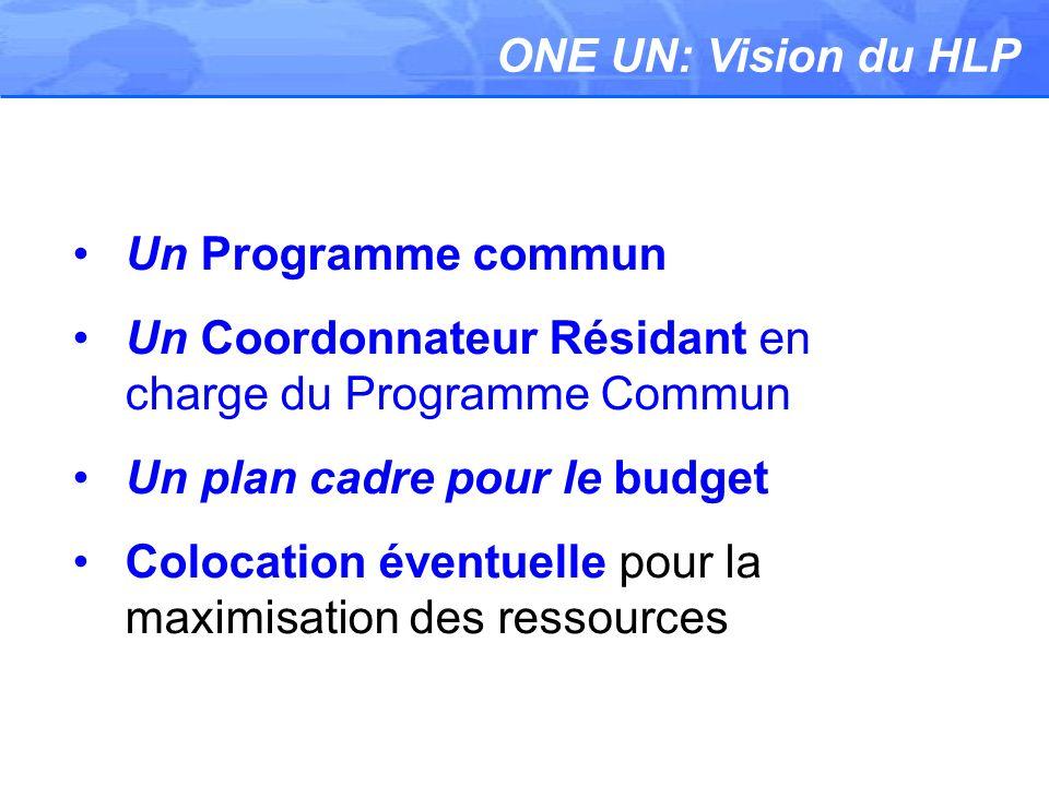 ONE UN: Vision du HLP Un Programme commun Un Coordonnateur Résidant en charge du Programme Commun Un plan cadre pour le budget Colocation éventuelle pour la maximisation des ressources
