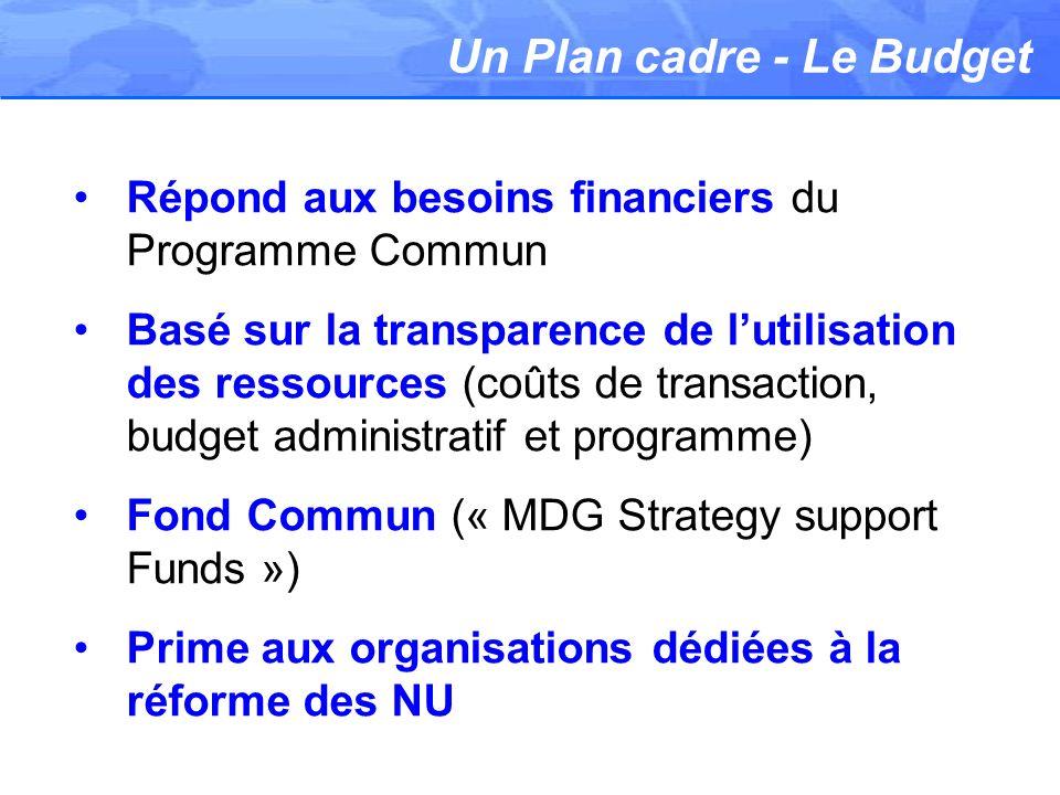 Un Plan cadre - Le Budget Répond aux besoins financiers du Programme Commun Basé sur la transparence de lutilisation des ressources (coûts de transaction, budget administratif et programme) Fond Commun (« MDG Strategy support Funds ») Prime aux organisations dédiées à la réforme des NU