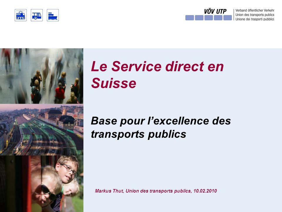 Le Service direct en Suisse Markus Thut, Union des transports publics, 10.02.2010 Base pour lexcellence des transports publics