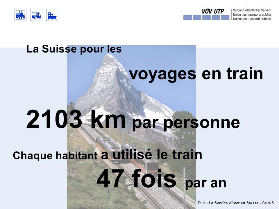 10.02.2010 – Markus Thut - Le Service direct en Suisse - Seite 5 La Suisse pour les voyages en train Chaque habitant a utilisé le train 47 fois par an 2103 km par personne