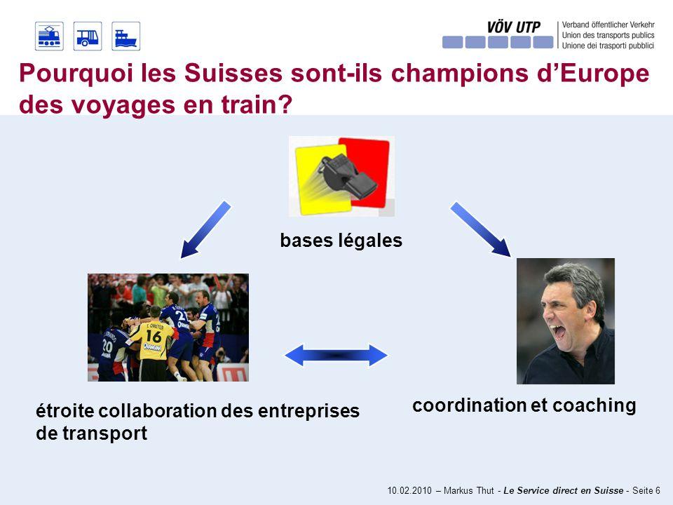 10.02.2010 – Markus Thut - Le Service direct en Suisse - Seite 6 Pourquoi les Suisses sont-ils champions dEurope des voyages en train.