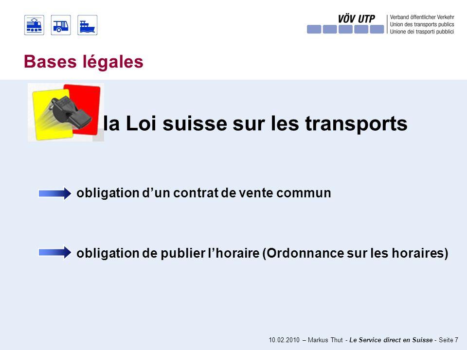 10.02.2010 – Markus Thut - Le Service direct en Suisse - Seite 27 nœud de transport Valeur ajoutée pour les clients gain de temps