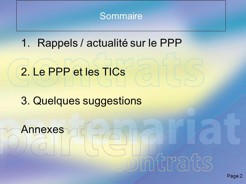 Page 2. Sommaire 1.Rappels / actualité sur le PPP 2.