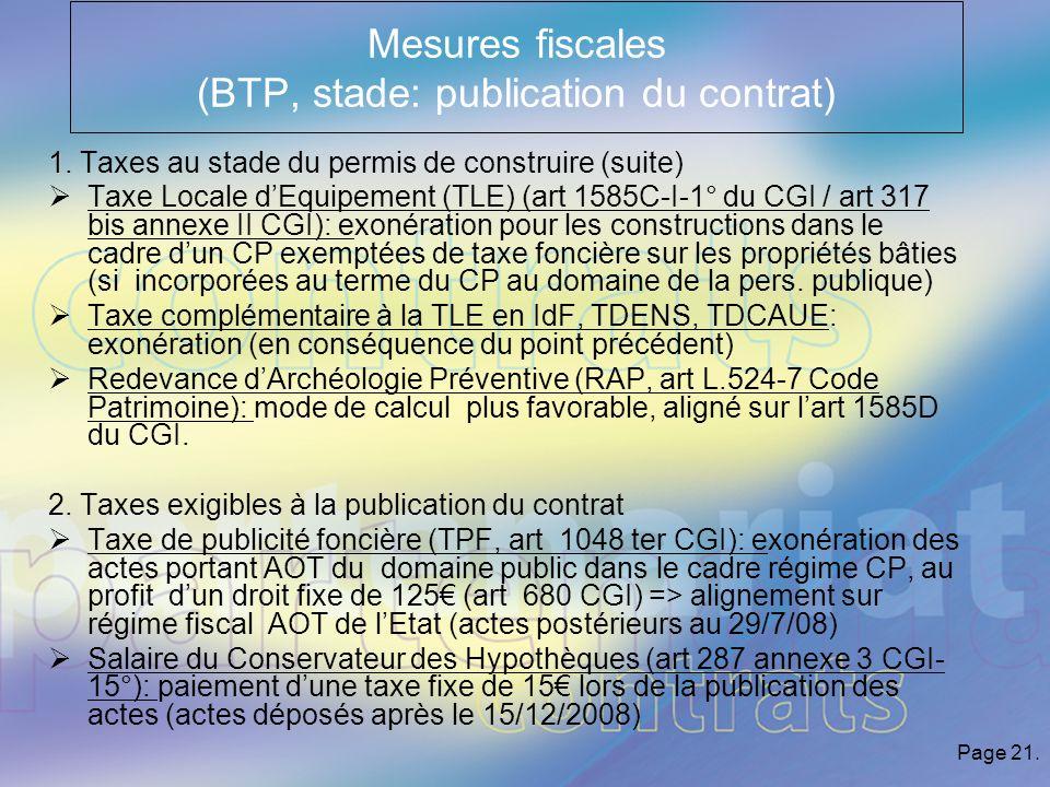 Page 21.Mesures fiscales (BTP, stade: publication du contrat) 1 1.