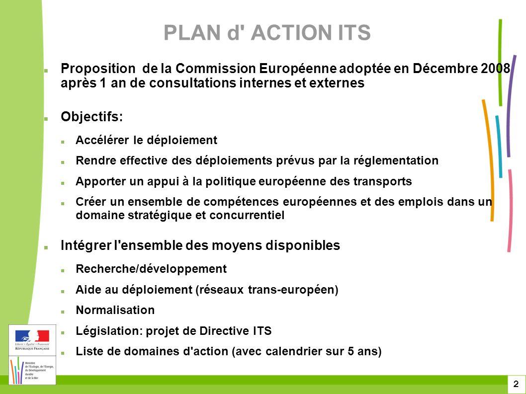 2 PLAN d ACTION ITS Proposition de la Commission Européenne adoptée en Décembre 2008 après 1 an de consultations internes et externes Objectifs: Accélérer le déploiement Rendre effective des déploiements prévus par la réglementation Apporter un appui à la politique européenne des transports Créer un ensemble de compétences européennes et des emplois dans un domaine stratégique et concurrentiel Intégrer l ensemble des moyens disponibles Recherche/développement Aide au déploiement (réseaux trans-européen) Normalisation Législation: projet de Directive ITS Liste de domaines d action (avec calendrier sur 5 ans)